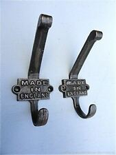 PAIR ANTIQUE STYLE MADE IN ENGLAND CAST IRON DOUBLE COATHOOK COAT HOOK RACK WALL