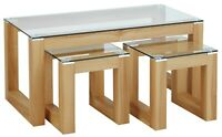 Hygena Home Cubic Coffee Table Set with 2 Side Tables Wooden Glass Industrial