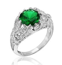 Edwardian Era Inspired Sterling Silver 3.20ct TW Green and White CZ Ring Size 7