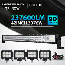 9D Tri-Row 42Inch 2376W CURVED LED Light Bar Flood Spot Car Driving +18W Pods 50
