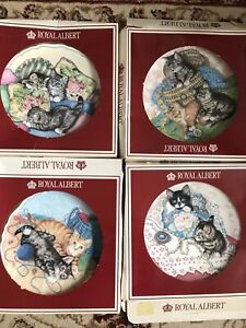 Royal Albert Cute Cats Collection 4 Plates Boxes Tatty
