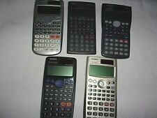Lot of 5 Casio Calculators FC-200V, FX 300MS, FX 300ES, FX 115ES, FX 270W