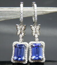 New Hot Natural Blue Tanzanite Sparkly Diamond 18K White Gold Wedding Earrings