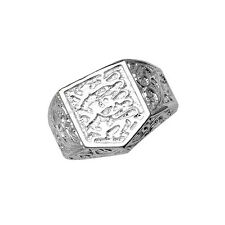Sterling Silver Gents Three Lions England Ring