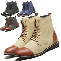 Men Lace Up Casual Chukka Boot Split-Leather Desert Ankle Chelsea Comfort Shoes