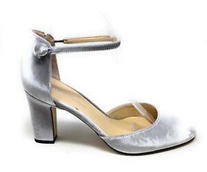 Ivanka Trump Women's Berea Pump Heel Ankle Strap Shoe Silver Size 8.5