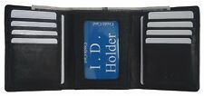 Mens Trifold Genuine Leather RFID Blocking Wallet Black New Bullz Wallets Insert