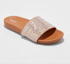 Mossimo Daylan Slide Sandal Sz 10 Sparkly Gems Rhinestone Slip On Shoes Tan NWT