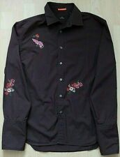 Paul Smith Embroidered Brown Floral Design Casual Cocktail Cuff Shirt Size L