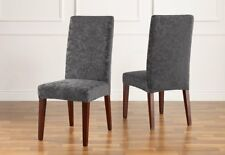 Dining Chair Sure Fit Stretch Jacquard Damask Slipcover Storm gray