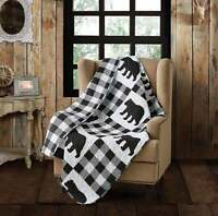 Black Bear Buffalo Plaid Printed Quilted Throw Country Lodge
