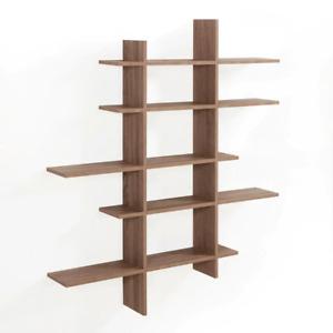 5 Level Asymmetric Floating Shelf Storage Organizer Laminated MDF Weathered Oak