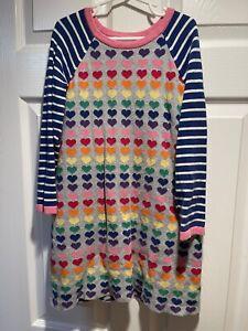 Girls Hanna Andersson Sweater Dress 120 6 7 Rainbow Hearts Knit Long Sleeve