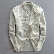 USL White Mens Casual Shirt Buttons Slim Linen Cotton Stand Collar Long Sleeve T