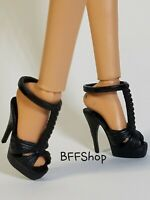 MATTEL BLACK ANKLE CUFF HIGH HEELS SHOES FASHIONISTAS BARBIE MODEL MUSE FASHION