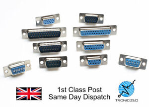 D-Sub Socket Chassis Solder Connector RS232 Serial DB DE9 DA15 DB25 VGA
