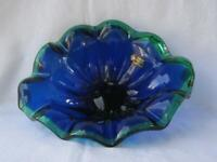 Genuine Murano Art Glass Bowl Dark Blue Green Italy by White Cristal No 410