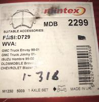 """Mintex Disc Brake Pad Set - MDB2299 - Fits Chev, GMC, Isuzu, Olds """"S"""" - Rear"""