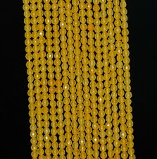 """2MM SUNFLOWER JADE GEMSTONE YELLOW FACETED ROUND LOOSE BEADS 15"""""""