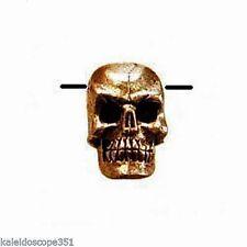 ANTIQUED GOLD PEWTER SKULL BEAD SIDE DRILL 5X7MM 4 BEADS SKULLS 1.4MM HOLE PB49