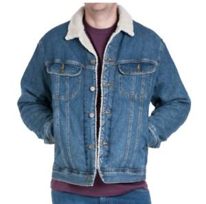 Mens Lee Rider sherpa denim jacket 'Stonewash blue' FACTORY SECONDS L223