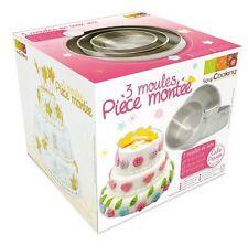 SCRAPCOOKING SET 3 TORTIERE STAMPI in acciaio PER TORTA A 3 PIANI CAKE DESIGN