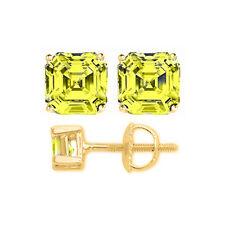 3CT WOMENS BEAUTIFUL 14K YELLOW GOLD ASSCHER CANARY YELLOW SAPPHIRE EARRINGS