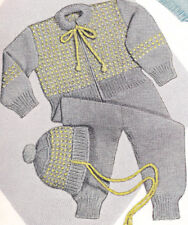Knitting PATTERN Baby Snow Suit Hat Cap 6-12 mos