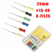 6PCS Dental K-FILES 25mm #15-40 Stainless Endo Root Canal File Hand Use za1n