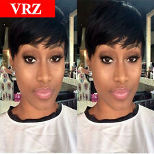 VRZ Short Human Hair Wigs Pixie Cut Best Brazilian Hair Wig Natural Black Wigs