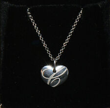 "Authentic Chopard 18K Solid White Gold Chopardissimo ""C"" Heart Pendant Necklace"
