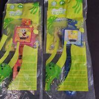Lot of 2 Spongebob Squarepants Burger King Watch with 2 random happy meal toys