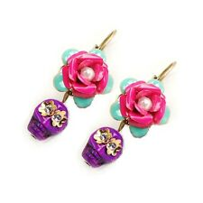 NEW SWEET ROMANCE/OLLIPOP GLASS CALAVERA SKULL & ROSE EARRINGS PURPLE