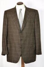 Perfect $2295 Ermenegildo Zegna 100% Cashmere Brown Windowpane Coat Jacket 48 L