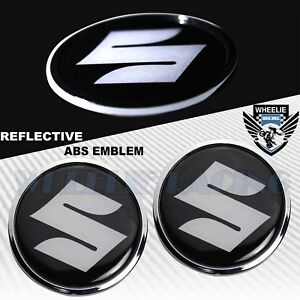 "X2 2.5"" 4M THICK 3D CHROME FAIRING/FENDER EMBLEM STICKER REFLECTIVE SUZUKI LOGO"