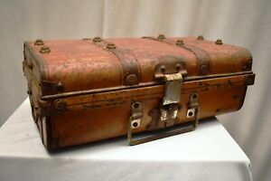 """Antique Steel Travel Trunk Luggage Chest Tool Storage Box Steamer Trunk Germany"""""""