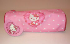 HELLO KITTY PENCIL CASE Pink w/ White Polka CYLINDER PIPED Zip HEART ROSE WREATH