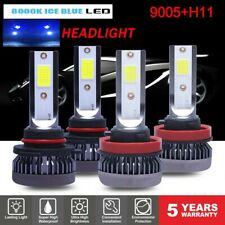 4pcs 9005 +H11 LED Headlight Kit Combo 220W 44000LM High Low Beam 8000K Ice Blue