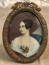 Portrait of 18th century French female royalty, miniature on vellum.Bronze frame