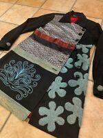 SILK THREADS S BLACK CORDUROY BLUE FLORAL EMBROIDER COAT INDIA BOUTIQUE LN HM