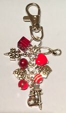 HANDMADE NURSE MIDWIFE MEDICAL HAND BAG CHARM KEYRING  KITSCH RED GREAT GIFT