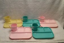 Vintage Colonial Plastics 5 Lunch Serving Trays & Matching Cups Cafeteria