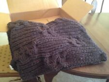 Pottery Barn Cable Knit Brown Chenille Throw