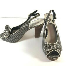 Womens Look Black White Polka Dot Bow High Heels Size UK 7 Round Toe Strappy