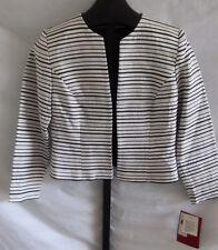 NWT J S Collections White Black & Metallic Striped Suit Jacket Petite Size 8P