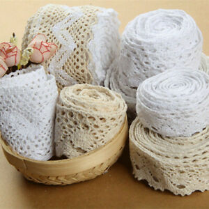 10M Cotton Lace Edge Trims Ribbon Applique Crochet Sewing DIY Craft