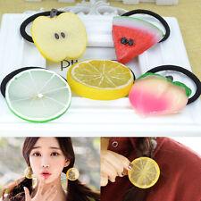 4PCS Fashion Faux Fruit Strawberry Watermelon Hair Band Rope Hair Ring Ponytail