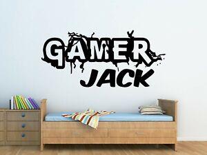 Personalised Gamer Logo Wall Art Vinyl Sticker Boys Bedroom Decor - Any Name