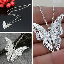 Stylish Women Silver Plated Hollow Out Butterfly Fashion Pendant Necklace