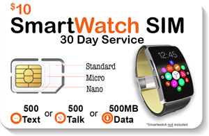 $10 Smart Watch SIM Card For 4G LTE GSM Smartwatches - Roaming Available